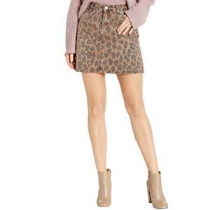 NWT Blank NYC Leopard Denim Mini Skirt Size 29